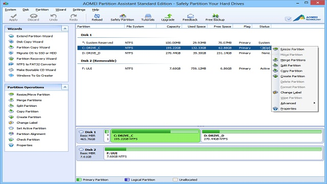 AOMEI hard disk partition management software donwload