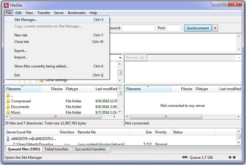 increase-download-speed-in-filezilla-step1