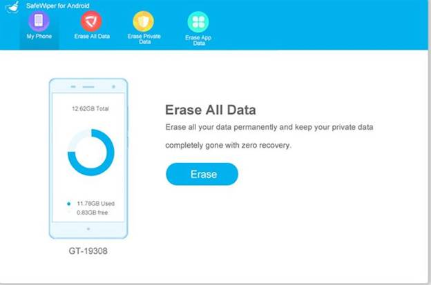 Erase all data in android