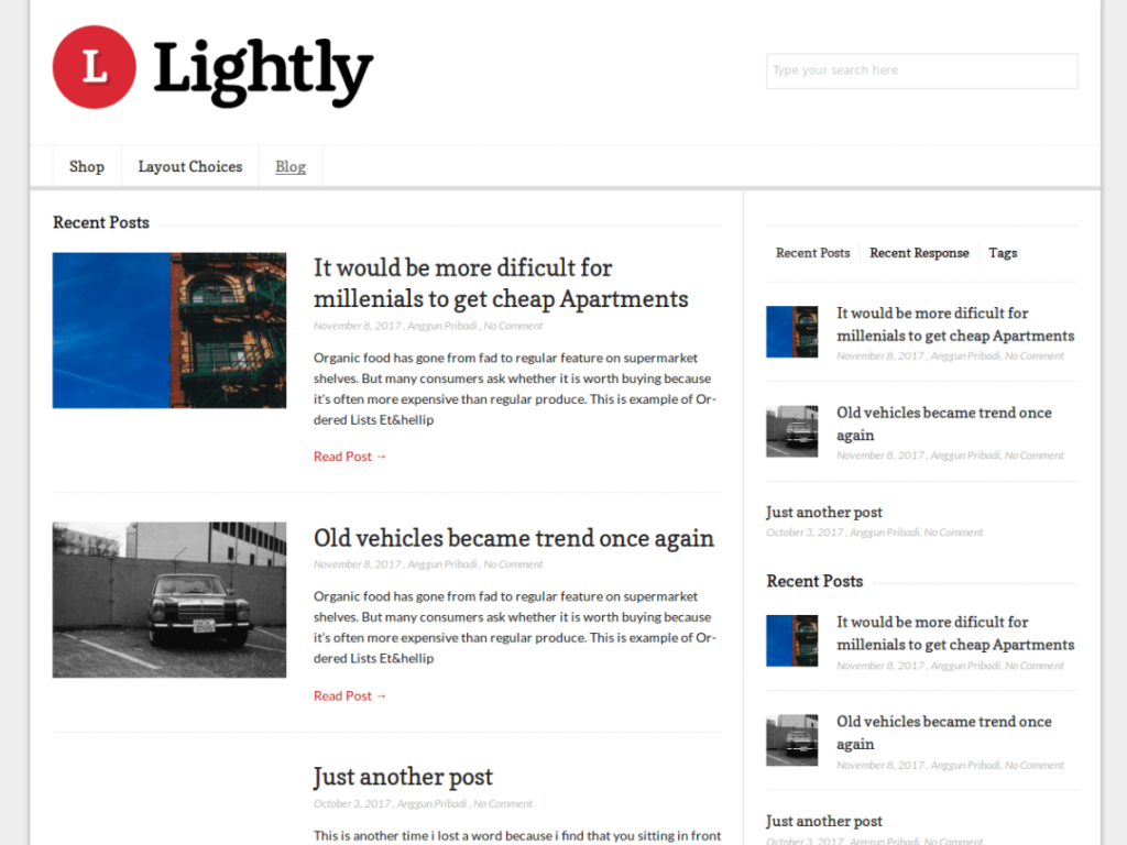 Lightly-wordpress-theme