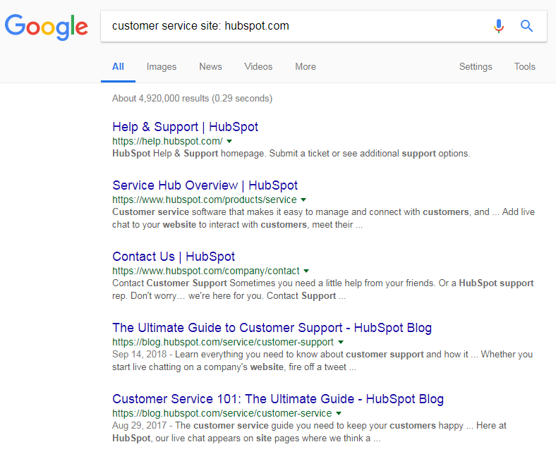 customer service site hubspot
