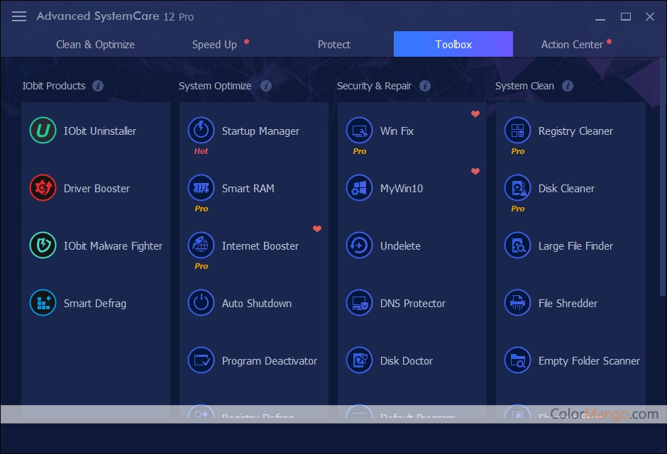 Advanced SystemCare Pro features